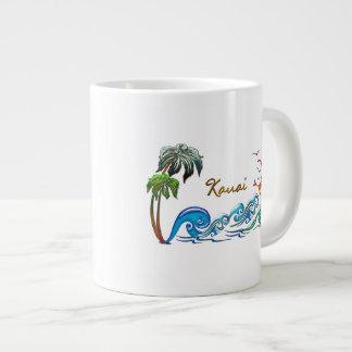 3d Palms, Waves & Sunset KAUAI Large Coffee Mug