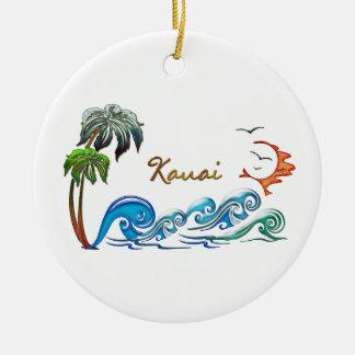 3d Palms, Waves & Sunset KAUAI Double-Sided Ceramic Round Christmas Ornament