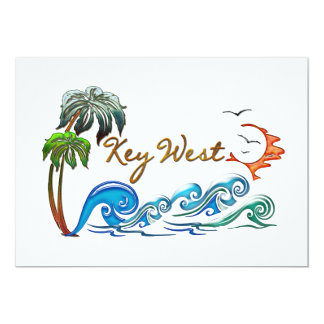 3D PALMS WAVES SUNSET KEY WEST. CARD