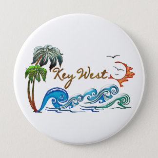 3d Palms, Waves & Sunset KEY WEST Pinback Button