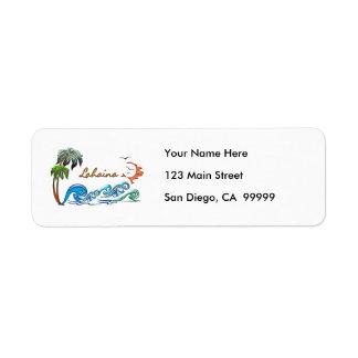 3d Palms, Waves & Sunset LAHAINA Label