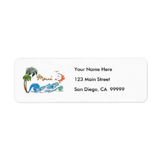 3d Palms, Waves & Sunset MAUI Label