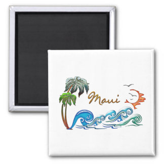3d Palms Waves Sunset MAUI Magnets