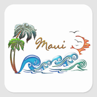 3d Palms, Waves & Sunset MAUI Square Sticker