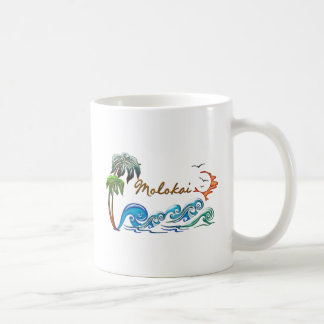 3d Palms, Waves & Sunset MOLOKAI Coffee Mug