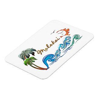 3d Palms Waves Sunset MOLOKAI Flexible Magnet