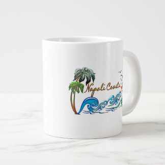 3d Palms, Waves & Sunset NAPALI COAST Large Coffee Mug