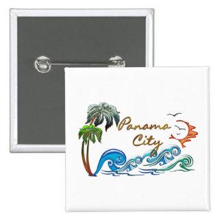 3d Palms, Waves & Sunset PANAMA CITY Pinback Buttons