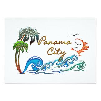 3d Palms, Waves & Sunset PANAMA CITY Card