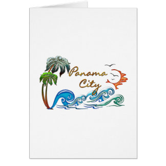 3d Palms, Waves & Sunset PANAMA CITY Greeting Card