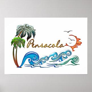 3d Palms, Waves & Sunset PENSACOLA Poster