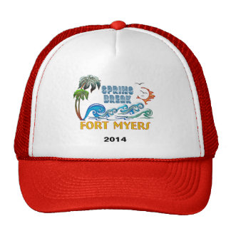 3D Palms Waves Sunset Spring Break FORT MYERS Trucker Hat