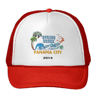 3D Palms Waves Sunset Spring Break PANAMA CITY Trucker Hat