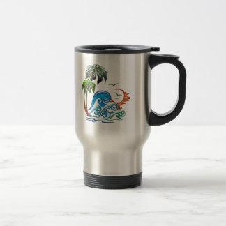 3D Palms, Waves & Sunset Travel Mug