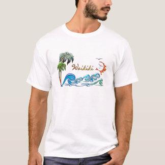 3d Palms, Waves & Sunset WAIKIKI T-Shirt