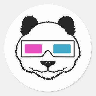 3D Panda Classic Round Sticker