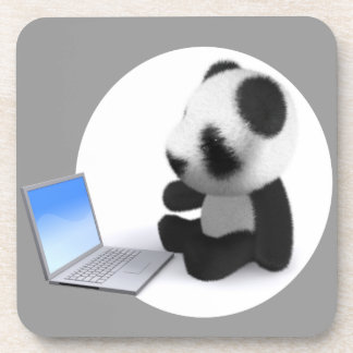 3d Panda Laptop Drink Coaster