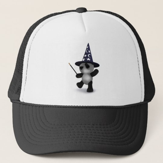 3d Panda Wizard Trucker Hat