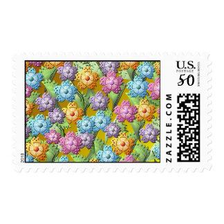 3D Paper Flower Garden Postage Stamp