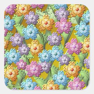 3D Paper Flower Garden Square Sticker
