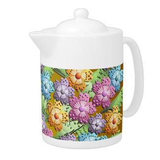 3D Paper Flower Garden Teapot