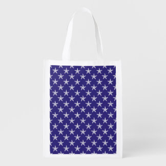 3D Patriot Stars on Blue Grocery Bag