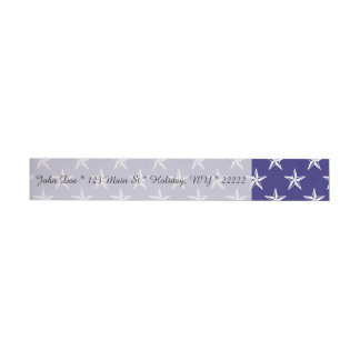 3D Patriot Stars on Blue Wrap Around Address Label