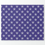 3D Patriot Stars on Blue Wrapping Paper