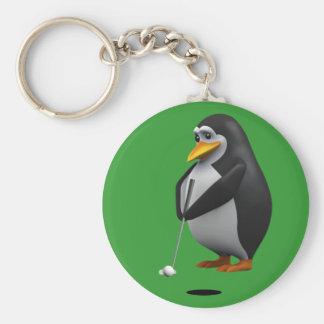 3d Penguin Golfer (Any Color U Like!) Keychains