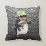 3d Penguin Soldier Throw Pillows
