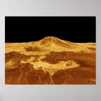 3D Perspective View of Maat Mons on Venus Print