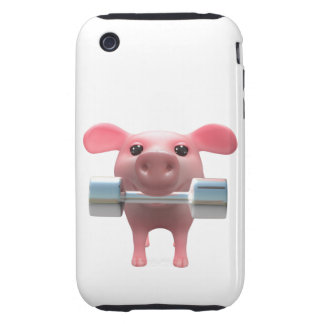 3d Piggy Weightlifter (Any Color U Like!) iPhone 3 Tough Cases