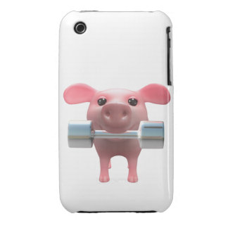 3d Piggy Weightlifter (Any Color U Like!) iPhone 3 Case-Mate Cases