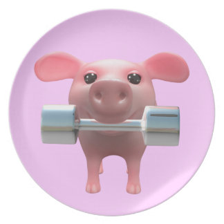 3d Piggy Weightlifter (Any Color U Like!) Melamine Plate