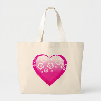 3D PINK HEART FLOWERS TROPICAL DIGITAL ICONS LOGOS TOTE BAGS