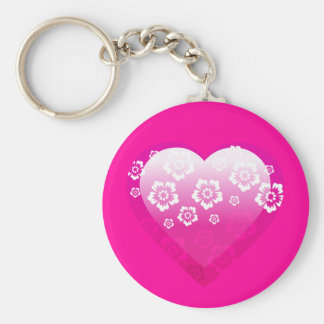 3D PINK HEART FLOWERS TROPICAL DIGITAL ICONS LOGOS BASIC ROUND BUTTON KEYCHAIN