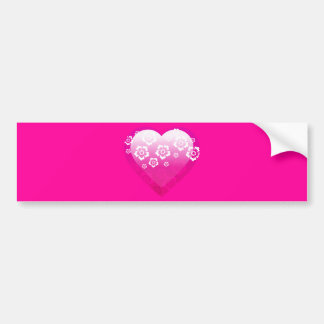 3D PINK HEART FLOWERS TROPICAL DIGITAL ICONS LOGOS BUMPER STICKERS