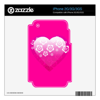 3D PINK HEART FLOWERS TROPICAL DIGITAL ICONS LOGOS SKINS FOR iPhone 2G