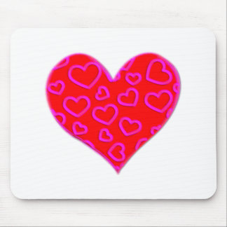 3D Pink Hearts Accented Heart Mouse Pad