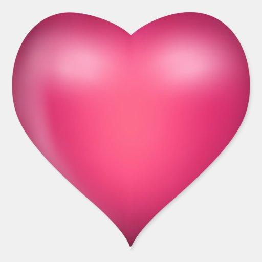 3D Pink Love Heart Heart Sticker  Zazzle