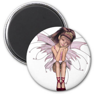 3D Pink Pixie 3 2 Inch Round Magnet