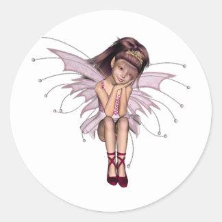 3D Pink Pixie 3 Classic Round Sticker