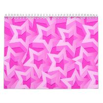 3D pink stars Calendar