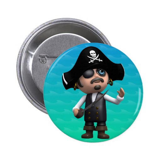 3d Pirate Looks Up (Any Color U Like!) 2 Inch Round Button