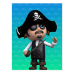 3d Pirate Looks Up (Any Color U Like!) Post Card