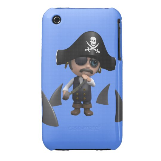 3d Pirate shark fins (editable) iPhone 3 Cover