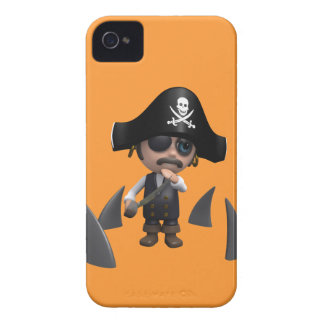 3d Pirate shark fins (editable) iPhone 4 Case-Mate Case