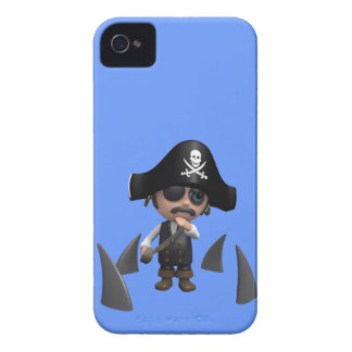 3d Pirate shark fins (editable) iPhone 4 Cover