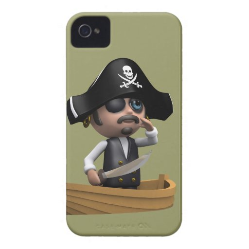 3d Pirate Ship Ahoy! (editable) iPhone 4 Case-Mate Case