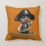 3d Pirate Ship Ahoy! (editable) Throw Pillow